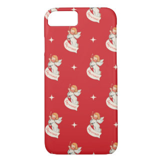 Vintage Christmas Greetings, Angels with Stars iPhone 8/7 Case