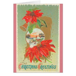Vintage Christmas Greetings- Bells & Flowers Card