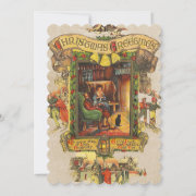 Vintage Christmas Greetings Flat Photocard Holiday Card