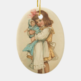 Vintage Christmas Greetings Girl with Doll Ceramic Ornament