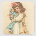 Vintage Christmas Greetings Girl with Doll Square Sticker