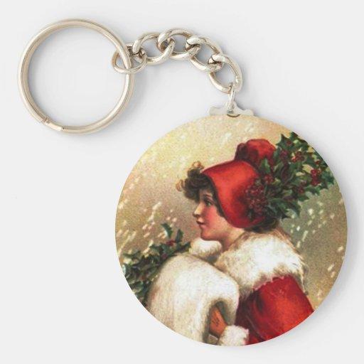 Vintage Christmas Greetings Key Chains
