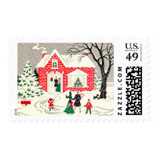 Vintage Christmas Greetings Medium Postage at Zazzle