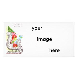 Vintage Christmas Greetings Sleigh Card