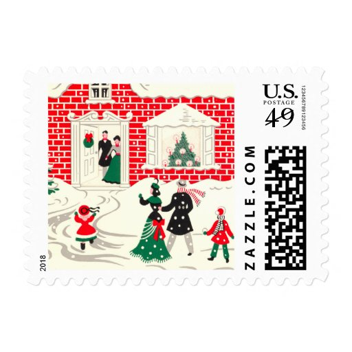 Vintage Christmas Greetings Small Postage