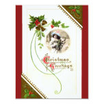 Vintage Christmas Greetings Template Flat Card Announcement