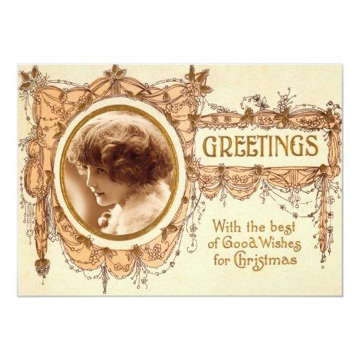 Vintage Christmas Greetings Template Flat Card Custom Invitation