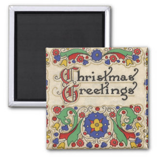 Vintage Christmas Greetings with Decorative Border 2 Inch Square Magnet