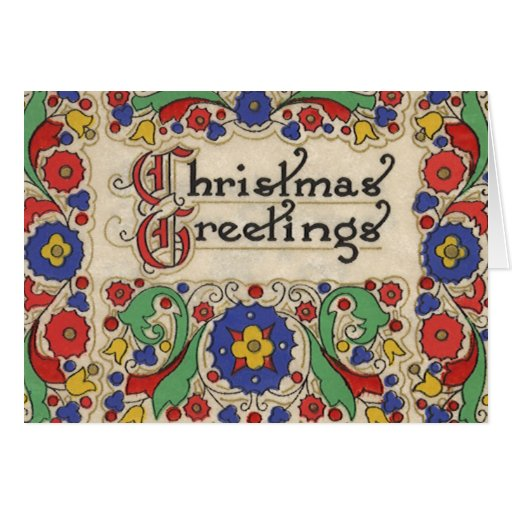 Vintage Christmas Greetings with Decorative Border Greeting Cards