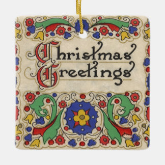Vintage Christmas Greetings with Decorative Border Ceramic Ornament