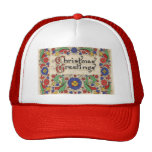 Vintage Christmas Greetings with Decorative Border Mesh Hat