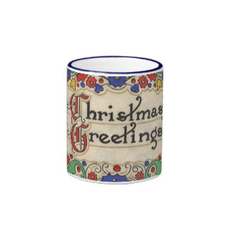 Vintage Christmas Greetings with Decorative Border Coffee Mugs