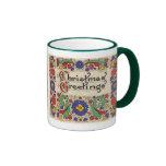 Vintage Christmas Greetings with Decorative Border Mug