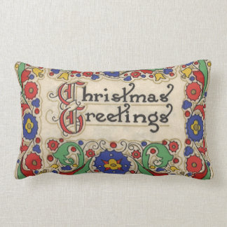 Vintage Christmas Greetings with Decorative Border Throw Pillows