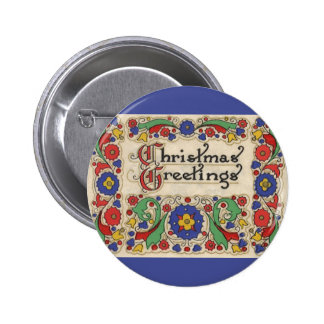 Vintage Christmas Greetings with Decorative Border Pinback Button