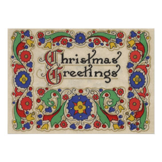 Vintage Christmas Greetings with Decorative Border Poster