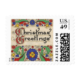 Vintage Christmas Greetings with Decorative Border Stamp