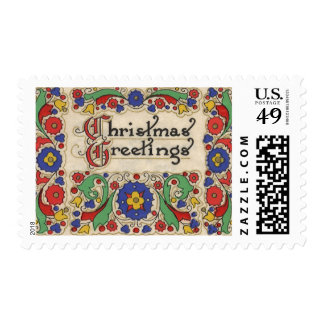Vintage Christmas Greetings with Decorative Border Stamps