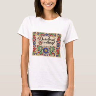 Vintage Christmas Greetings with Decorative Border T-Shirt