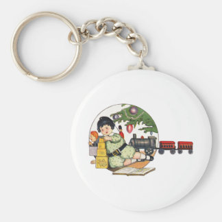 Vintage Christmas Happy Boy Playing with Toys Key Chains