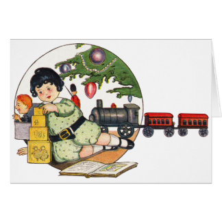 Vintage Christmas, Happy Boy Playing with Toys Stationery Note Card