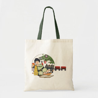 Vintage Christmas, Happy Boy Playing with Toys Tote Bag