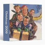 Vintage Christmas, Happy Family Sledding Vinyl Binder