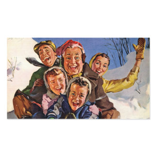 Vintage Christmas, Happy Family Sledding Double-Sided Standard Business Cards (Pack Of 100)