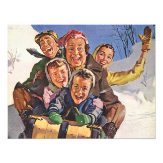 Vintage Christmas Happy Family Sledding Invites