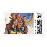 Vintage Christmas, Happy Family Sledding Postage