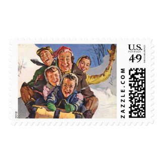 Vintage Christmas, Happy Family Sledding Postage