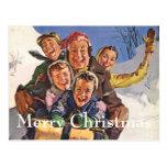 Vintage Christmas, Happy Family Sledding Postcard