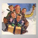 Vintage Christmas, Happy Family Sledding Poster