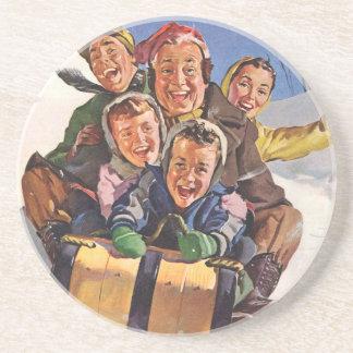 Vintage Christmas, Happy Family Sledding Toboggan Drink Coaster