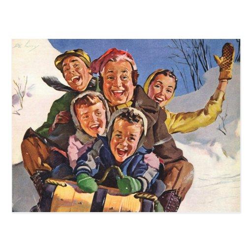 Vintage Christmas, Happy Family Sledding Toboggan Postcard
