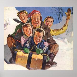 Vintage Christmas, Happy Family Sledding Toboggan Poster