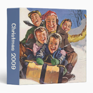 Vintage Christmas, Happy Family Toboggan Sledding 3 Ring Binder