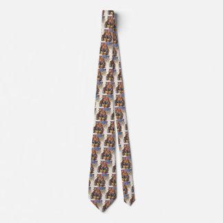 Vintage Christmas, Happy Family Toboggan Sledding Tie