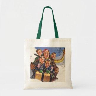 Vintage Christmas, Happy Family Toboggan Sledding Tote Bag