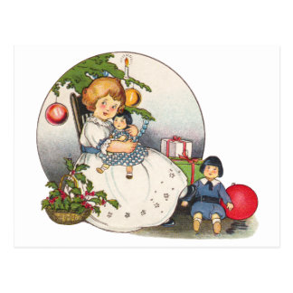 Vintage Christmas, Happy Girl Playing with Dolls Postcard