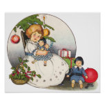 Vintage Christmas, Happy Girl Playing with Dolls Print