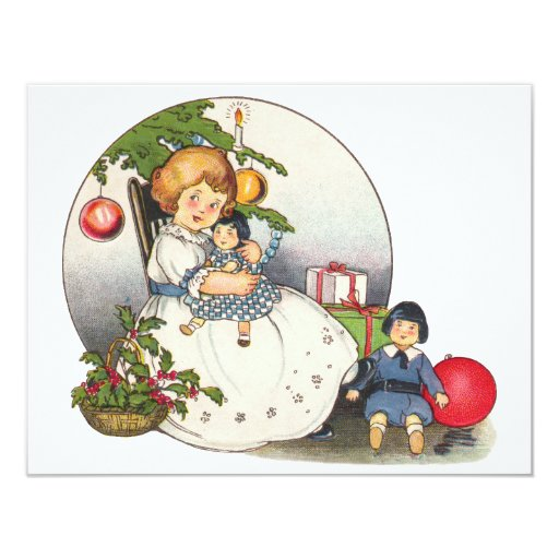 Vintage Christmas, Happy Girl with Doll Party Personalized Invitation