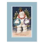 Vintage Christmas Happy Snowman Post Card
