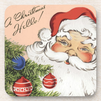 Vintage Christmas Hello! Jolly Santa Claus Coaster