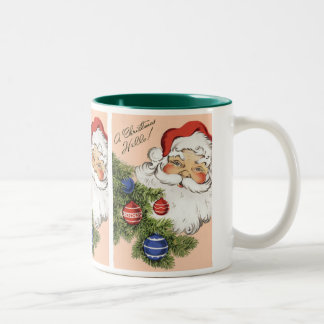 Vintage Christmas Hello! Jolly Santa Claus Two-Tone Coffee Mug