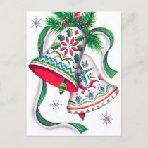 Vintage Christmas Holiday bells postcard