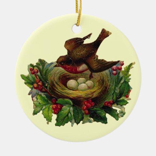 Vintage Christmas Holiday Bird Ceramic Ornament