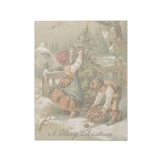 Vintage Christmas Holiday Card Snow Kids Tree Notepad