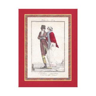 Vintage Christmas Holiday Decor Romantic Skaters Canvas Print