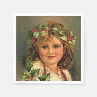 Vintage Christmas Holiday girl paper napkins